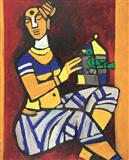 When I begin to paint hold the sky in your hand as the stretch of my canvas is unknown to me - M F Husain - Summer Auction 2007