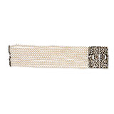 AN ART-DECO INSPIRED PEARL, COLOURED DIAMOND AND DIAMOND BRACELET -    - Spring Auction of Jewels