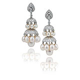 A CONTEMPORARY PAIR OF PEARL AND DIAMOND 'JHUMKI' EAR PENDANTS -    - Spring Auction of Jewels