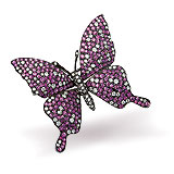 A PINK SAPPHIRE AND DIAMOND ''BUTTERFLY'' BROOCH -    - Spring Auction of Jewels