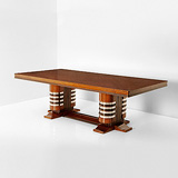 A TWIN PEDESTAL DINING TABLE -    - 24-Hour Online Auction: Art Deco