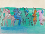 Groupe de jockeys et chevaux (Group of Jockeys and Horses) - Raoul  Dufy - Impressionist and Modern Art Auction