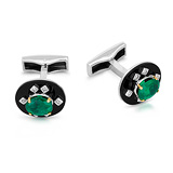 A PAIR OF EMERALD AND ONYX CUFFLINKS -    - Auction of Fine Jewels & Watches