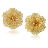 A PAIR OF GOLD 'FLOWER' EAR CLIPS -    - Auction of Fine Jewels & Watches