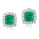 A MAGNIFICENT PAIR OF EMERALD AND DIAMOND EAR CLIPS -    - Auction of Fine Jewels & Watches