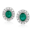 A PAIR OF EMERALD AND DIAMOND EAR CLIPS - Auction of Fine Jewels & Watches