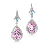A PAIR OF KUNZITE AND AQUAMARINE EAR PENDANTS -    - Auction of Fine Jewels & Watches