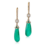 A PAIR OF EMERALD AND DIAMOND EAR PENDANTS -    - Auction of Fine Jewels & Watches