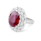 A RUBELITE AND DIAMOND RING -    - Autumn Auction of Fine Jewels and Silver