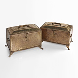 A NEAR PAIR OF BRASS CHESTS -    - 24-Hour Online Auction: Elegant Design