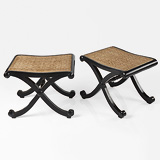 A PAIR OF EBONY STOOLS -    - 24-Hour Online Auction: Elegant Design