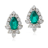A PAIR OF EMERALD AND DIAMOND EAR CLIPS -    - Online Auction of Fine Jewels and Silver