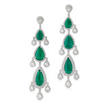 A PAIR OF EMERALDS AND DIAMOND EAR PENDANTS -    - Online Auction of Fine Jewels and Silver