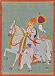 A MAHARAJA RIDING AN ADORNED STALLION - Classical Indian Art