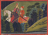BAZ BAHADUR AND RUPMATI RIDING AT NIGHT -    - Classical Indian Art