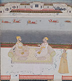 TWO NOBLEMEN ON A PALACE TERRACE -    - Classical Indian Art