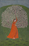 A MAIDEN BEFORE A BLOSSOMING TREE              <br><i>in the style of Mola Ram</i> -    - Classical Indian Art