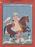 A RULER SMOKING A HOOKAH RIDING ON HORSEBACK -    - Classical Indian Art
