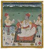 A PRINCE SEATED WITH HIS SON AND HEIR         <br><i>in the style of an artist named Nihal Chand</i> -    - Classical Indian Art
