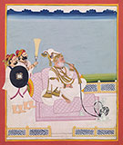 AN ELDERLY RAJA AT LEISURE -    - Classical Indian Art