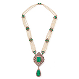 A PERIOD DIAMOND, EMERALD AND PEARL NECKLACE -    - Online Auction of Fine Jewels and Silver