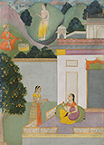 SAKHI BRINGS MESSAGE TO NAYIKA: AN ILLUSTRATION FROM A RASIKAPRIYA -    - Classical Indian Art | Live Auction, Mumbai