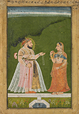 MAHARANA SANGRAM SINGH PRESENTING A NECKLACE TO A LADY -    - Classical Indian Art | Live Auction, Mumbai