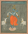 KRISHNA FLANKED BY TWO COWS - Classical Indian Art | Live Auction, Mumbai