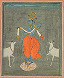 KRISHNA FLANKED BY TWO COWS -    - Classical Indian Art | Live Auction, Mumbai