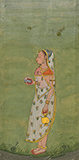 LADY PROCEEDING FOR SUN WORSHIP -    - Classical Indian Art | Live Auction, Mumbai