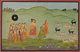 MAHARANA JAGAT SINGH II WITH LADIES AND DEER AT A LAKE -    - Classical Indian Art | Live Auction, Mumbai