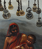 Mother, Child and Bells - Bikash  Bhattacharjee - Art and Collectibles Online Auction