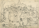 Untitled (Market Scene) - K H Ara - Evening Sale | Live, New Delhi