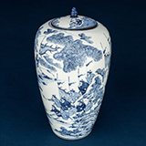 LARGE BLUE AND WHITE PORCELAIN JAR WITH COVER -    - Asian Art