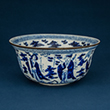 BLUE AND WHITE PORCELAIN BOWL WITH A METAL RIM - Asian Art