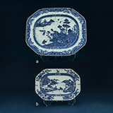 SET OF TWO BLUE AND WHITE PORCELAIN PLATTERS -    - Asian Art