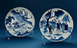 SET OF TWO BLUE AND WHITE PORCELAIN PLATES - Asian Art