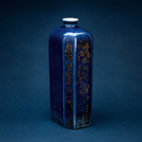 BLUE HEXAGONAL PORCELAIN BOTTLE -    - Asian Art