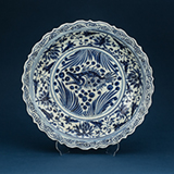 "LARGE BLUE AND WHITE PORCELAIN ""FISH"" CHARGER -    - Asian Art"