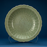 CELADON DISH CARVED WITH LOTUS -    - Asian Art