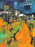 Untitled (Orange and Green Townscape) - S H Raza - Evening Sale | Live Auction, Mumbai