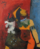 Untitled (Woman with Elephant) - M F Husain - Evening Sale | Live Auction, New Delhi