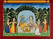 RADHA KRISHNA FEASTING IN A GROVE - Classical Indian Art