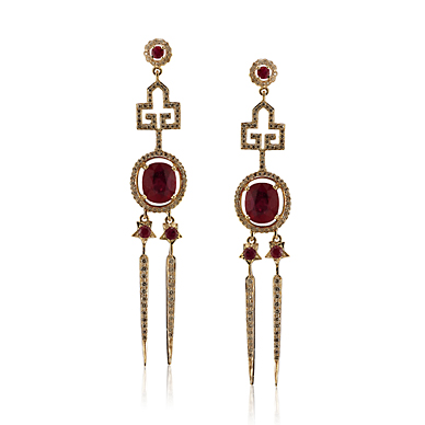 A PAIR OF RUBY AND DIAMOND 'ICE PICK DECO' EARRINGS