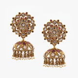 -A PAIR OF DIAMOND AND RUBY 'JHUMKI' EAR PENDANTS