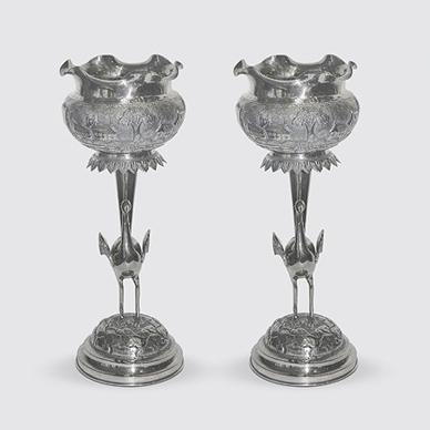 Bombay Pair of Bird Vases