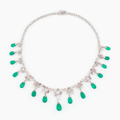 A COLOURED DIAMONDS AND EMERALD NECKLACE