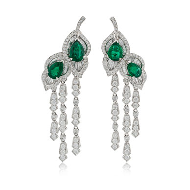 A PAIR OF DIAMOND AND EMERALD LEAF EAR PENDANTS