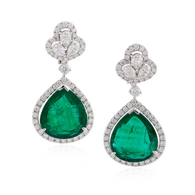 A MAGNIFICIENT EMERALD AND DIAMOND EAR PENDANTS