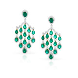 AN ELEGANT PAIR OF EMERALD AND DIAMOND EAR PENDANTS